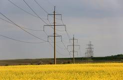 Линия высокого напряжения на поле рапса Стоковое фото RF
