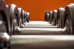 Линия гантелей в спортзале Стоковое Изображение
