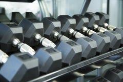 Линия гантелей на шкафе на спортзале Стоковое Изображение