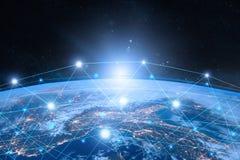 линия горизонта земли 3d представила космос интернет принципиальной схемы дела гловальный иллюстрация штока