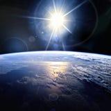 линия горизонта земли 3d представила космос серия интернета руки самого лучшего глобуса принципиальных схем принципиальной схемы  Стоковые Фото