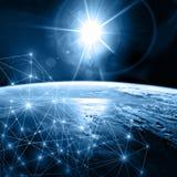 линия горизонта земли 3d представила космос серия интернета руки самого лучшего глобуса принципиальных схем принципиальной схемы  Стоковые Фотографии RF