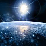 линия горизонта земли 3d представила космос серия интернета руки самого лучшего глобуса принципиальных схем принципиальной схемы  Стоковая Фотография