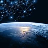 линия горизонта земли 3d представила космос серия интернета руки самого лучшего глобуса принципиальных схем принципиальной схемы  Стоковое Фото