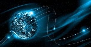 линия горизонта земли 3d представила космос серия интернета руки самого лучшего глобуса принципиальных схем принципиальной схемы  Стоковое Изображение