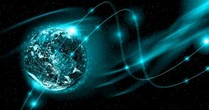 линия горизонта земли 3d представила космос серия интернета руки самого лучшего глобуса принципиальных схем принципиальной схемы  Стоковая Фотография RF