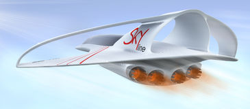 Линия горизонт предпринимательского класса воздушных судн идеи проекта зазвуковая иллюстрация 3d Стоковое Изображение