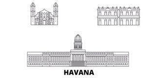 Линия города набор Кубы, Гаваны горизонта перемещения Иллюстрация вектора города плана города Кубы, Гаваны, символ, видимости пер иллюстрация вектора
