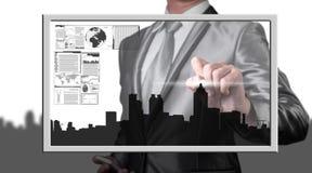 Линия города чертежа бизнесмена, концепция дела стоковые изображения rf