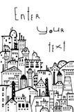 Линия город искусства с космосом для текста Стоковые Фотографии RF