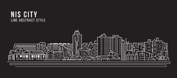 Линия дизайн здания городского пейзажа иллюстрации вектора искусства - город Nis