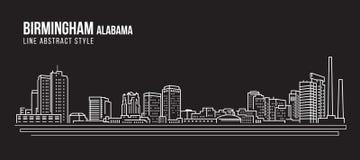 Линия дизайн здания городского пейзажа иллюстрации вектора искусства - город Алабама Бирмингема иллюстрация штока