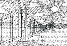 Линия дизайн искусства длинного моста пересекает сверх море для страницы иллюстрации и книжка-раскраски Вектор запаса Стоковые Фотографии RF