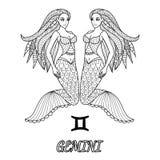 Линия дизайн искусства знака зодиака Джемини для элемента дизайна и страницы книжка-раскраски взрослого также вектор иллюстрации  Стоковое Фото