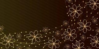 Линия знамя золота цветка Стоковая Фотография RF