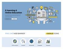 Линия знамя онлайн образования плоская Стоковое Изображение RF