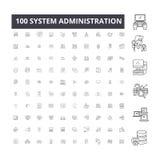 Линия значки администрации системы editable, набор 100 векторов, собрание Иллюстрации плана черноты администрации системы иллюстрация вектора