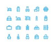 Линия значки багажа голубая плоская Продолжите, чемоданы hardside, который катят сумки, несущая любимчика, рюкзак перемещения bag иллюстрация вектора