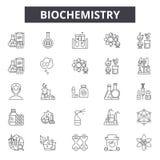 Линия значки биохимии для сети и черни Editable знаки хода Иллюстрации концепции плана биохимии иллюстрация вектора