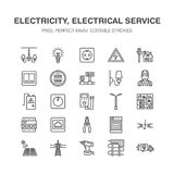 Линия значки вектора инженерства электричества плоская электрическо иллюстрация штока