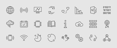 Линия значки вектора связанной технологии анализа набора данных Содержит такие значки как диаграммы, Wi-Fi, диаграммы, движение бесплатная иллюстрация