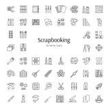 Линия значки вектора Scrapbooking Инструменты и аксессуары для утиля Стоковая Фотография