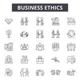 Линия значки деловой этики, знаки, набор вектора, концепция иллюстраци иллюстрация вектора