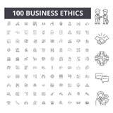 Линия значки деловой этики, знаки, набор вектора, концепция иллюстрации плана бесплатная иллюстрация