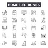 Линия значки домашней электроники, знаки, набор вектора, линейная концепция, иллюстрация плана иллюстрация штока