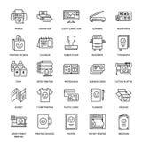 Линия значки дома печатания плоская Оборудование магазина печати - принтер, блок развертки, смещенная машина, прокладчик, брошюра иллюстрация вектора