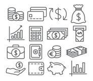 Линия значки денег Стоковые Изображения RF