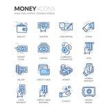 Линия значки денег Стоковое Фото