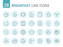 Линия значки завтрака Стоковые Фото
