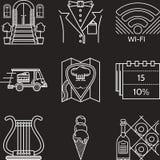 Линия значки индустрии ресторана белая Стоковое Изображение RF