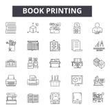 Линия значки книжного производства для сети и мобильного дизайна Editable знаки хода Иллюстрации концепции плана книжного произво иллюстрация вектора