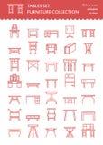 Линия значки мебели вектора, символы таблицы силуэт различной таблицы - обедающего, сочинительства, таблицы шлихты Линейная пикто Стоковое Изображение RF