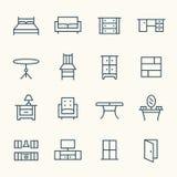 Линия значки мебели Стоковые Изображения