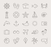Линия значки моря и пляжа вектор комплекта сердец шаржа приполюсный Стоковые Изображения