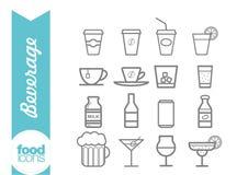Линия значки напитка Стоковое Изображение