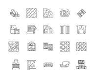 Линия значки окна Drapery, знаки, набор вектора, концепция иллюстрации плана бесплатная иллюстрация