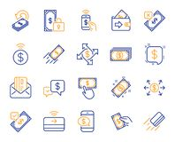 Линия значки оплаты Комплект перехода Accept, оплаты с телефоном и чешет по почте вектор иллюстрация вектора