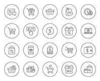 Линия значки покупок Подарки, бумажник и продажа иллюстрация штока