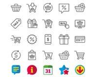 Линия значки покупок Подарки, настоящие моменты и продажа бесплатная иллюстрация