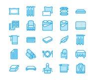 Линия значки постельных принадлежностей плоская Тюфяки Orthopedics, белье спальни, подушки, листы иллюстрации устанавливают, одея иллюстрация вектора