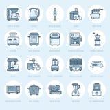 Линия значки приборов кухни малая Домочадец варя знаки инструментов Оборудование приготовления пищи - blender, машина кофе Стоковые Фотографии RF