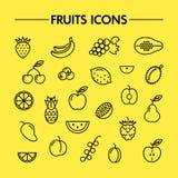 Линия значки плодоовощей и ягод Стоковые Фото