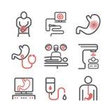 Линия значки рака желудка Симптомы и диагноз Медицинское infographics стоковые фото