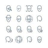 Линия значки распознавания лиц Смотрит на обнаружение биометрии, лицевую скеннирование и открывает пиктограммы вектора системы иллюстрация вектора