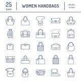 Линия значки сумок женщин плоская Сумки печатают - crossbody, рюкзаки, муфта, totes, hobo, кожаный портфель, багаж иллюстрация штока