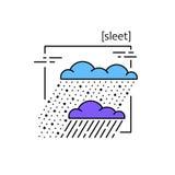 Линия значки с погодой символа Стоковые Изображения